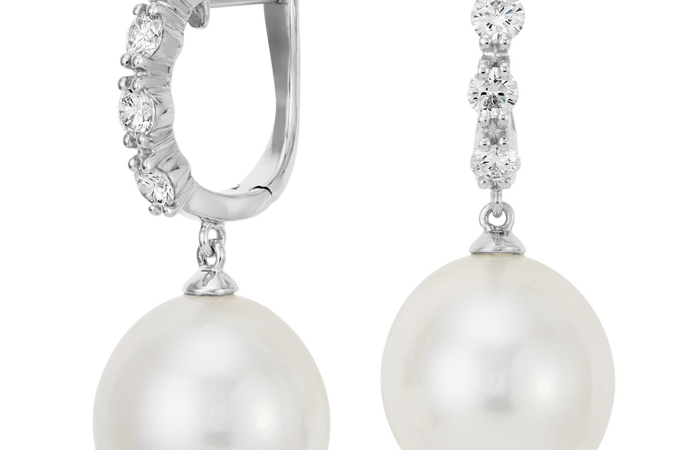 South Sea Cultured Pearl and Diamond Hoop Earrings in 18k White Gold (13mm)