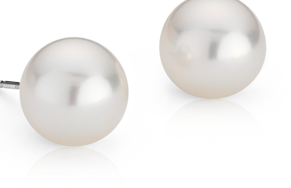 Aretes de perlas cultivadas del mar del Sur en oro blanco de 18 k (10,0-10,5mm)