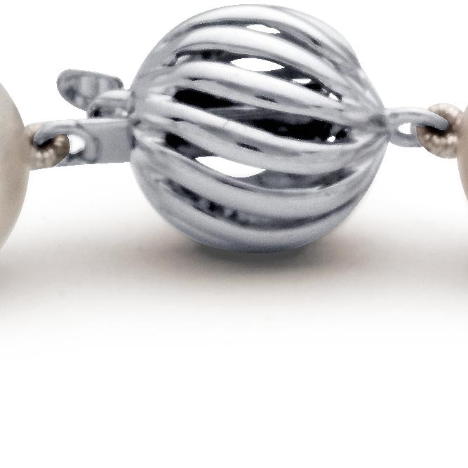 Brazalete de perlas cultivadas de los mares del Sur con oro blanco de 18 k (9,0-9,5mm)