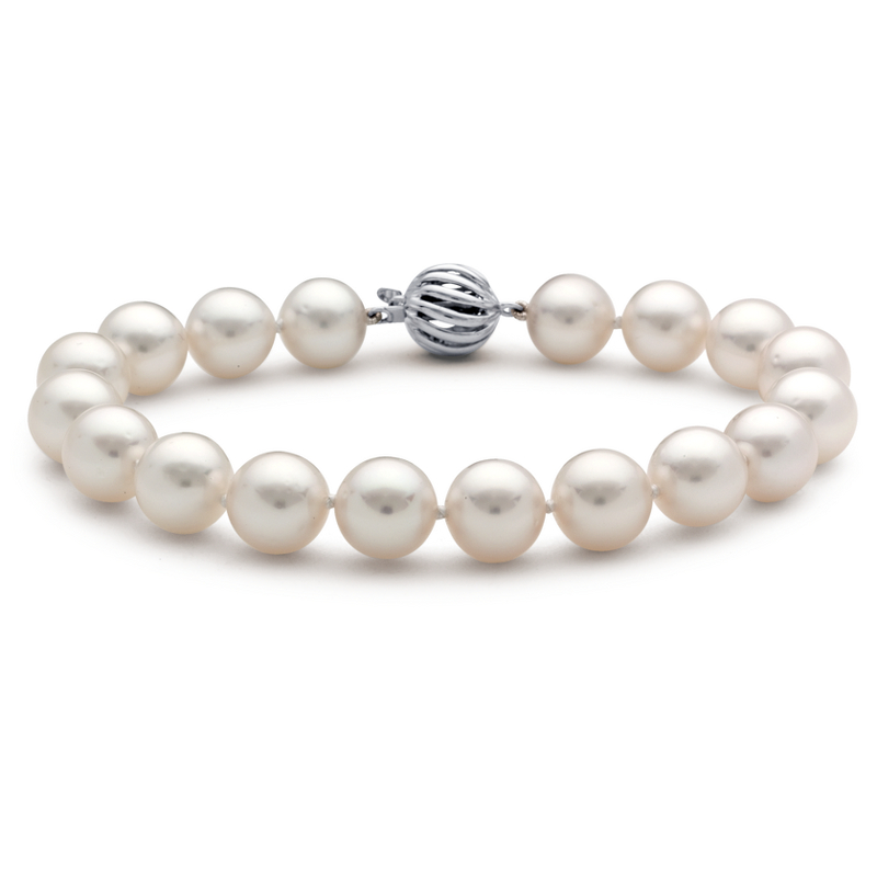 South Sea Cultured Pearl Strand Bracelet with 18k White Gold (9.0