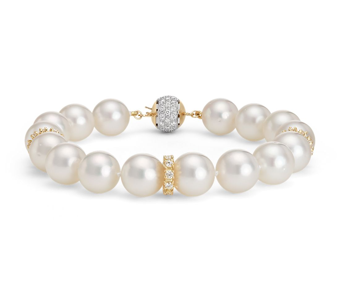 South Sea Cultured Pearl and Diamond Bracelet in 18k Yellow Gold (10-10.5mm)