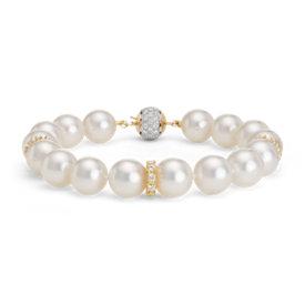 Brazalete de diamantes y perlas cultivadas del mar del Sur en oro amarillo de 18k (10-10,5mm)