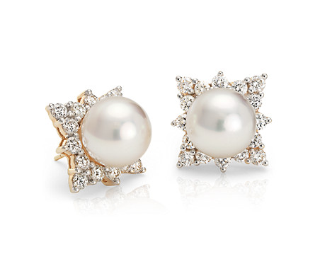 South Sea Cultured Pearl and Diamond Halo Earring in 18k Yellow Gold (10-10.5mm)