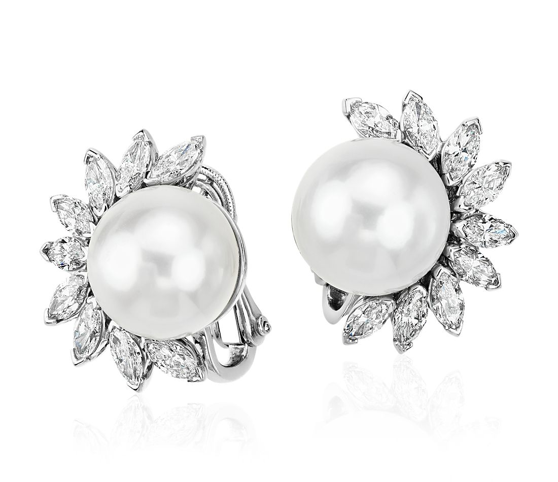 South Sea Cultured Pearl And Diamond Earrings In Platinum 13mm