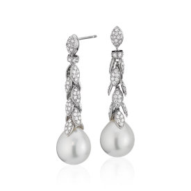 South Sea Cultured Pearl and Diamond Fringe Leaf Earrings in 18k White Gold (12.2-14.2mm)