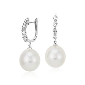 South Sea Cultured Pearl and Diamond Hoop Earrings 18k White Gold (13mm)