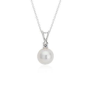 Pendentif diamant et perle de culture des mers du Sud en or blanc 18carats (9,0-10,0mm)