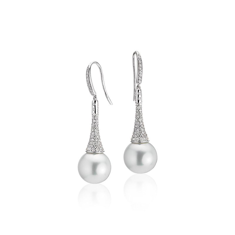 Diamond Drop South Sea Cultured Pearl Earrings in 14k White Gold