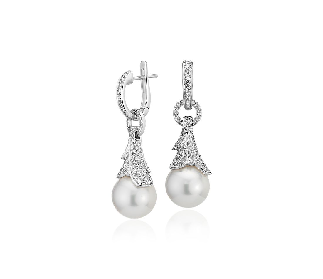 South Sea Cultured Pearl Earrings with Cascading Diamond Drop in 18k White Gold (12.3mm)
