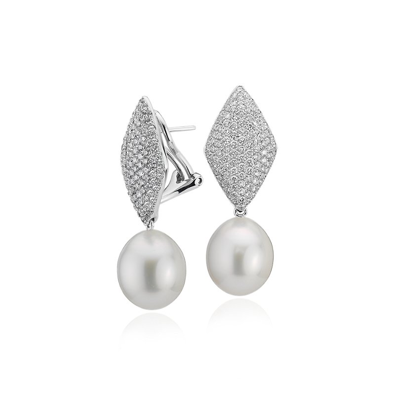 South Sea Cultured Pearl Earrings with Pavé Diamond Kite i