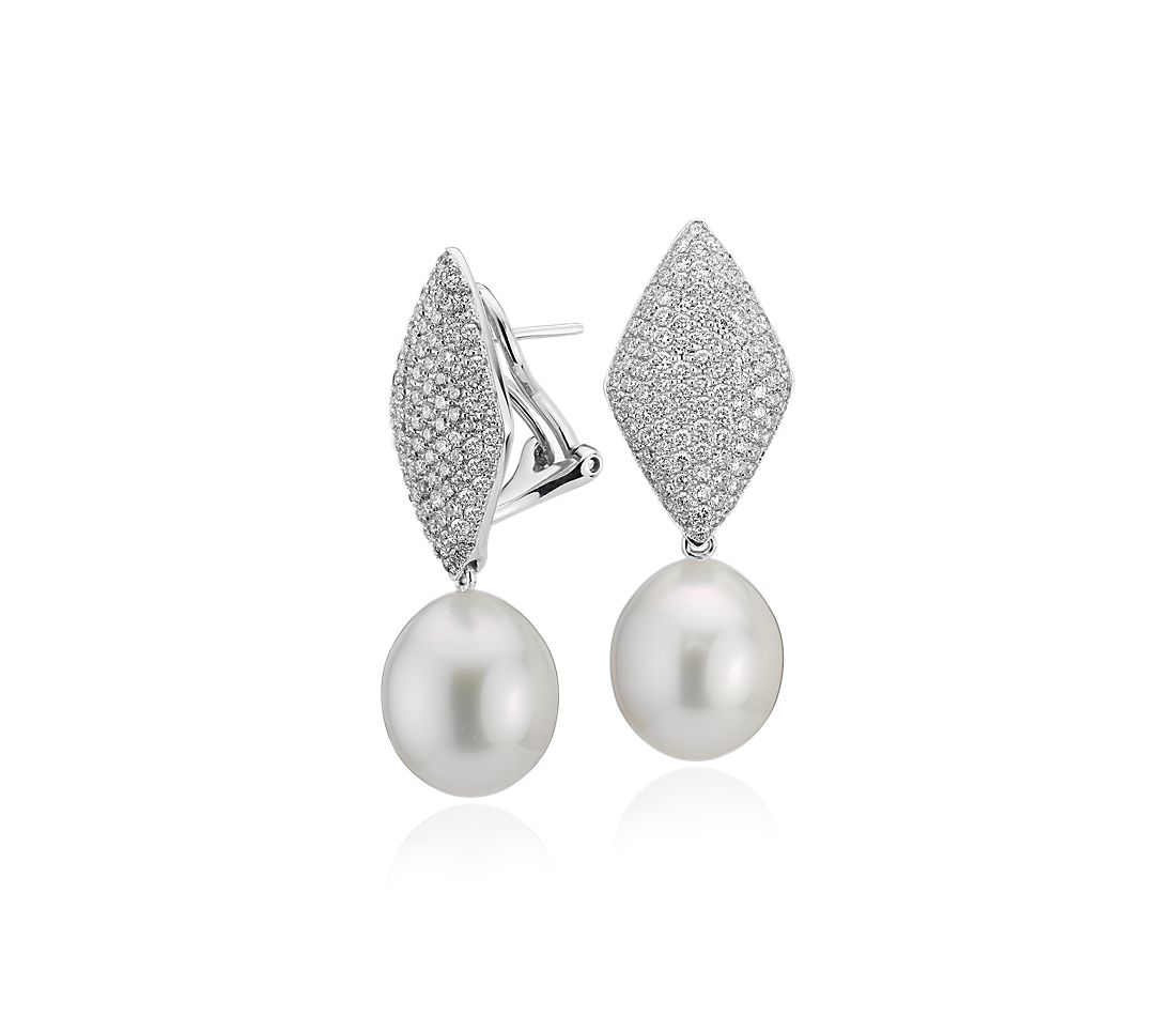 South Sea Cultured Pearl Earrings with Pavé Diamond Kite in 18k White Gold (11.9 mm)