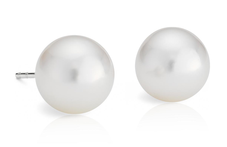 Aretes de perlas cultivadas de los mares del Sur en oro blanco de 18 k (9,0-9,5mm)