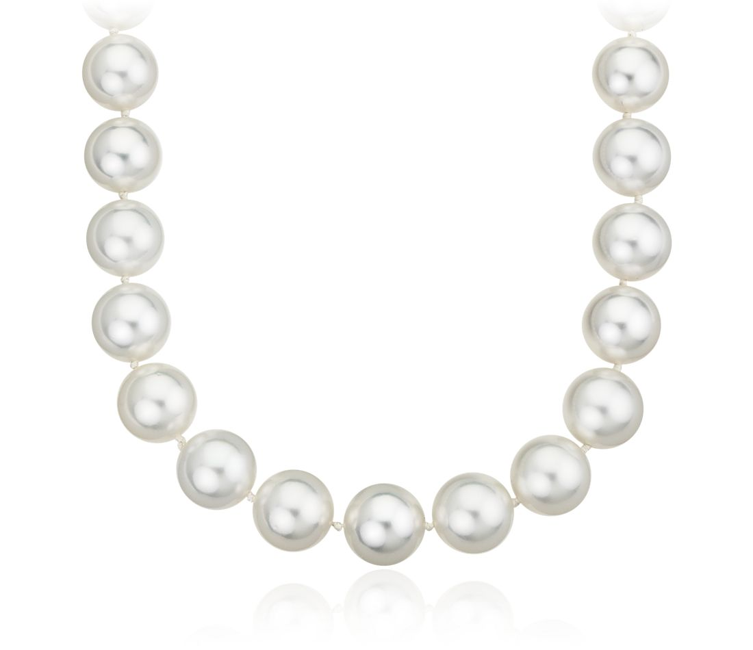 South Sea Cultured Pearl Strand with Illusion Clasp in 14k White Gold (10.2-12.4mm)