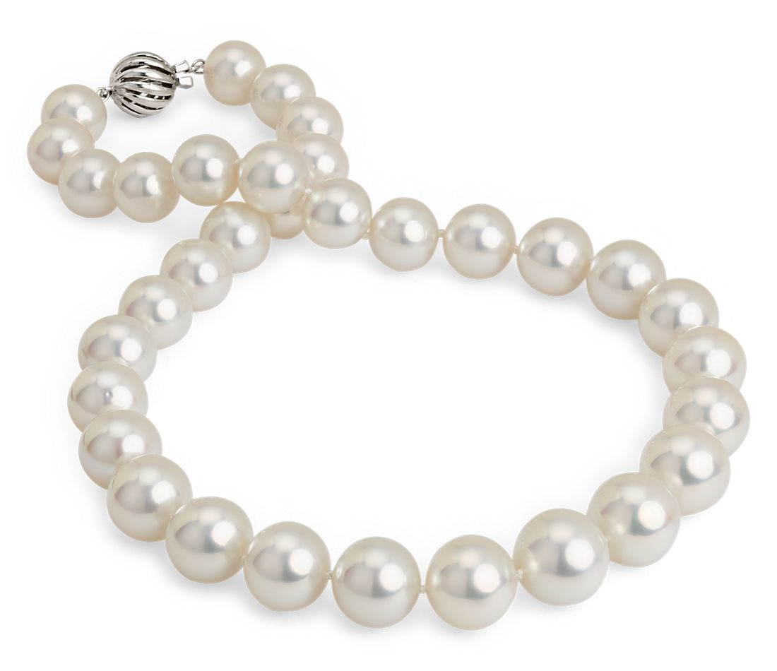 White South Sea Cultured Pearl Strand with Cage Clasp in 18k White Gold (11-13.9)