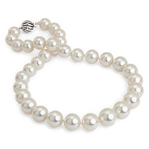 White South Sea Cultured Pearl Strand with Cage Clasp in 18k White Gold (11.1-14.4mm)
