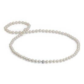 Collier de perles des mers du Sud avec fermoir en diamants sertis pavé en or blanc 18 carats - 91,44 cm de long (10-11,2 mm)