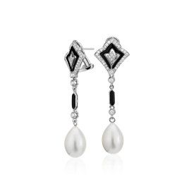 South Sea Cultured Pearl and Onyx Fan Drop Earrings in 18k White Gold (12-13mm)
