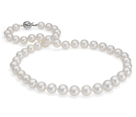 South Sea Cultured Pearl Strand Necklace 18k White Gold (8-10mm)