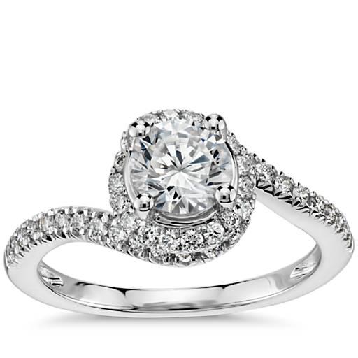 Black Diamond Ring 1 Ct Tw Oval Cut 14k White Gold: Spiral Halo Pavé Diamond Engagement Ring In 14k White Gold