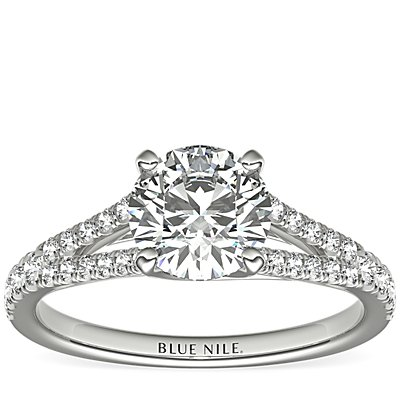Split Shank Trellis Diamond Engagement Ring in 14k White Gold (0.29 ct. tw.)