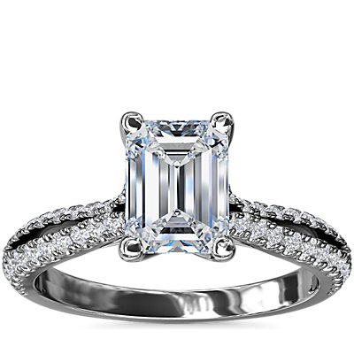 NEW Split Shank Emerald Cut Diamond Engagement Ring in 14k White Gold (1/4 ct. tw.)