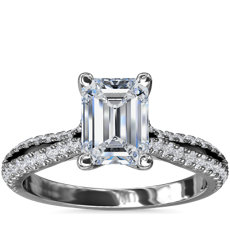 Split Shank Emerald Cut Diamond Engagement Ring in 14k White Gold (1/4 ct. tw.)