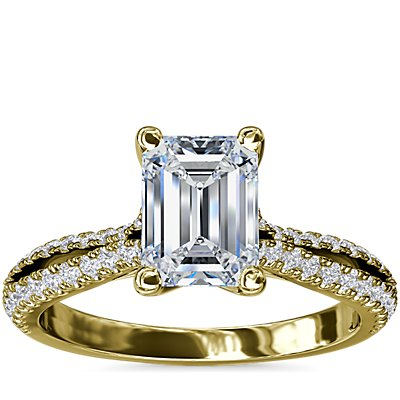 NEW Split Shank Emerald Cut Diamond Engagement Ring in 14k Yellow Gold (1/4 ct. tw.)
