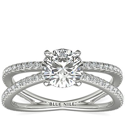 Blue Nile Studio Empress Diamond Engagement Ring in Platinum (1/3 ct. tw.)