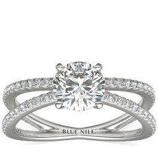 Blue Nile Studio Empress French Pavé Diamond Engagement Ring (0.32 ct. tw.)