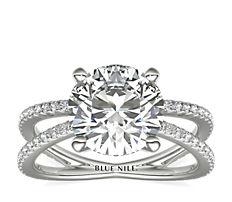 Blue Nile Studio Empress French Pavé Diamond Engagement Ring (0.32 ct. tw.)
