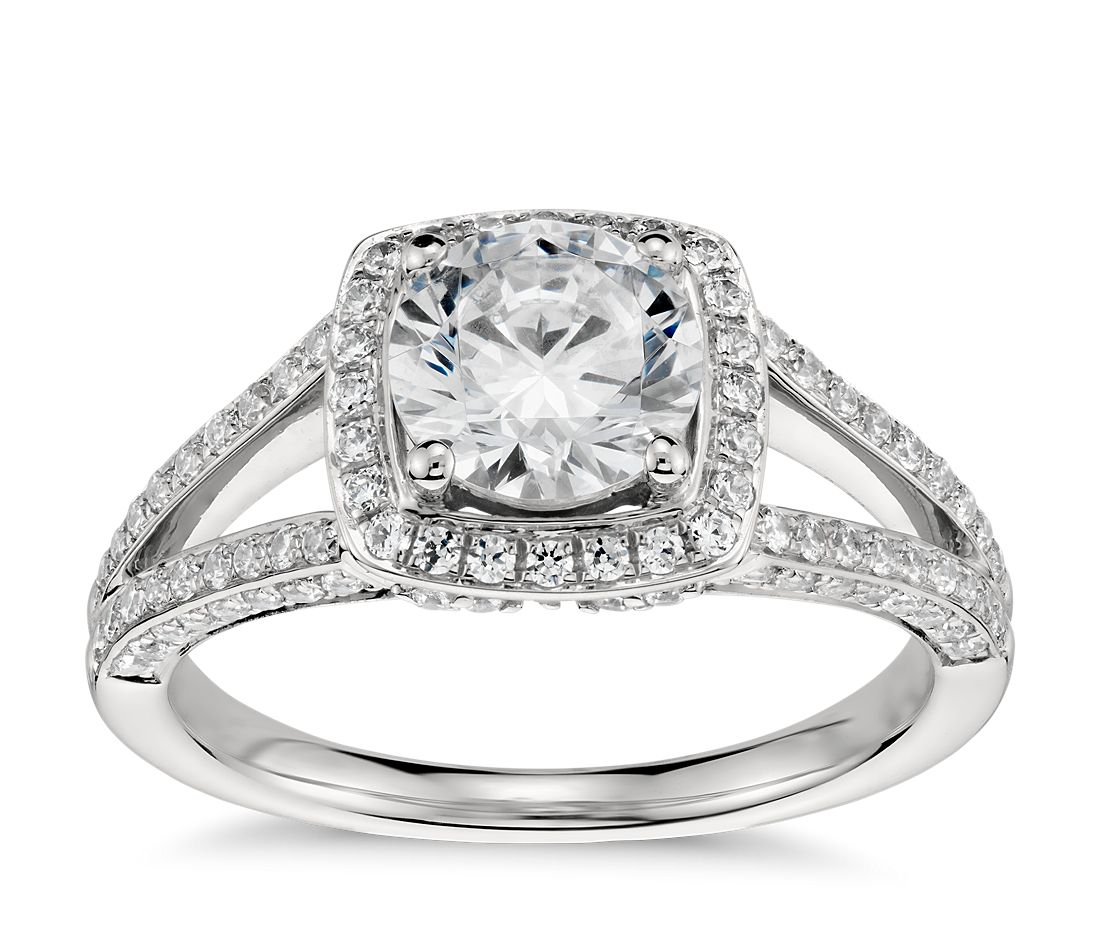 Monique lhuillier split shank halo diamond engagement ring for Wedding band to go with halo ring