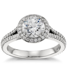 Split Shank Halo Diamond Engagement Ring in Platinum
