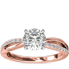 Split Shank Pavé and Plain Shank Diamond Engagement Ring in 14k Rose Gold (1/10 ct. tw.)