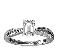 Split Shank Pavé and Plain Shank Diamond Engagement Ring in 14k White Gold (1/10 ct. tw.)