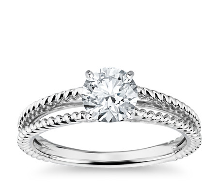 Split Shank Twisted Solitaire Engagement Ring in 14k White Gold