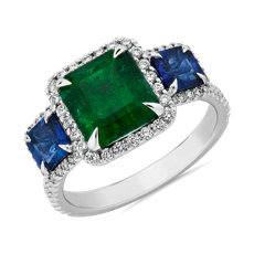 NEW Square Cut Emerald and Blue Sapphire Three-Stone Ring in 18k White Gold