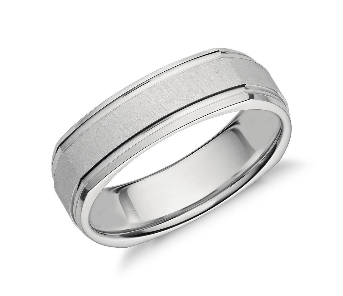 square brushed inlay wedding ring in platinum 6mm - Square Wedding Rings