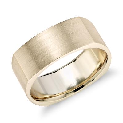 Matte Square Eurofit Wedding Ring in 14k Yellow Gold 8mm Blue Nile