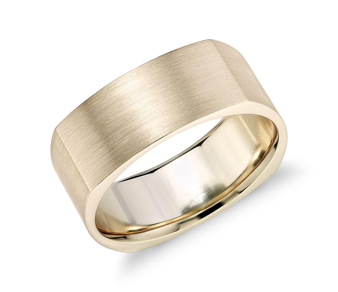 Matte Square Eurofit Wedding Ring in 14k Yellow Gold (8mm)