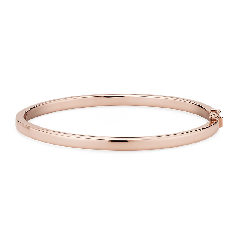 Squared Bangle in 14k Italian Rose Gold 4mm