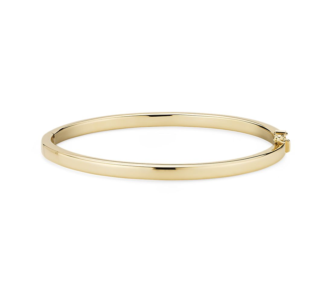Squared Bangle in 14k Italian Yellow Gold 4mm