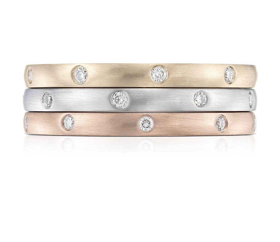 Bagues d'éternité diamant Stacking superposées en or blanc, jaune et rose de 14 carats
