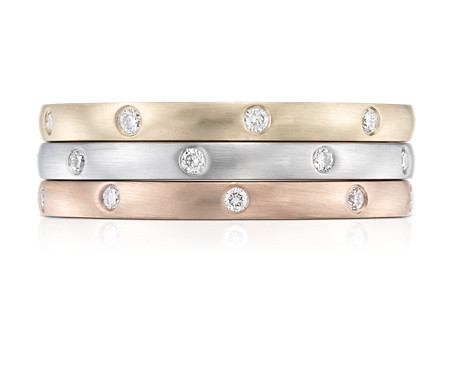 Stacking Starlight Diamond Eternity Rings in 14k White, Yellow and Rose Gold