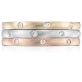 NEW Stacking Starlight Diamond Eternity Rings in 14k White, Yellow and Rose Gold
