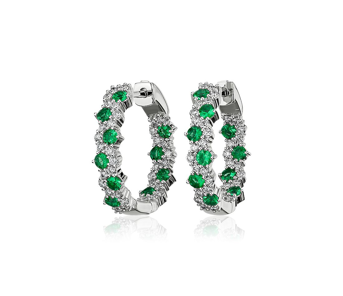 Staggered Emerald and Diamond Hoop Earrings in 14k White Gold