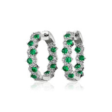 NEW Staggered Emerald and Diamond Hoop Earrings in 14k White Gold