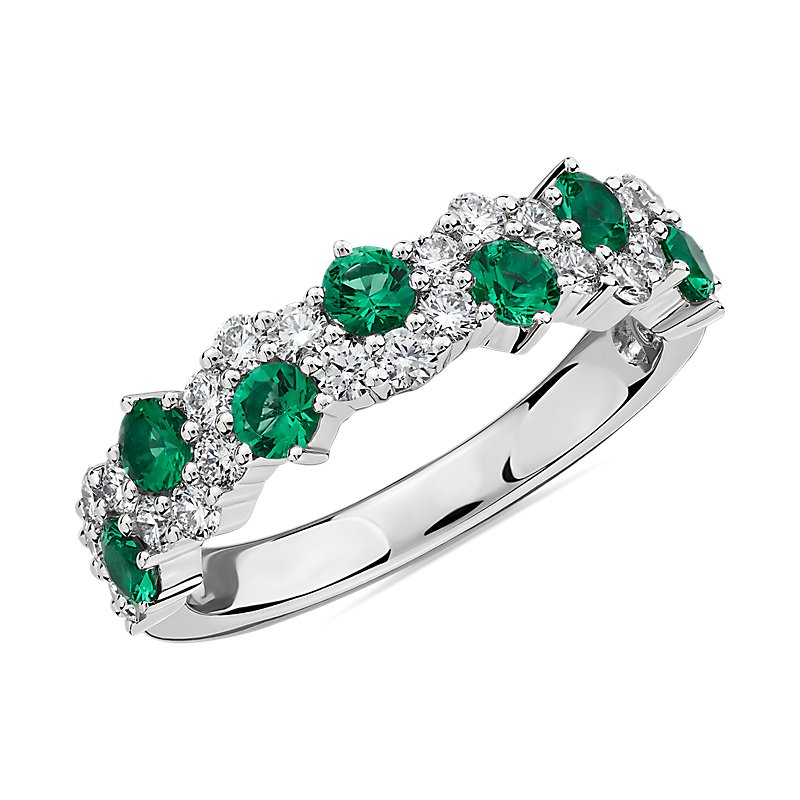 Staggered Emerald and Diamond Ring in 14k White Gold