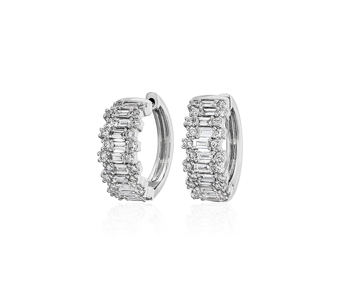Staggered Round and Baguette Diamond Hoop Earrings in 14k White Gold (0.95 ct. tw.)