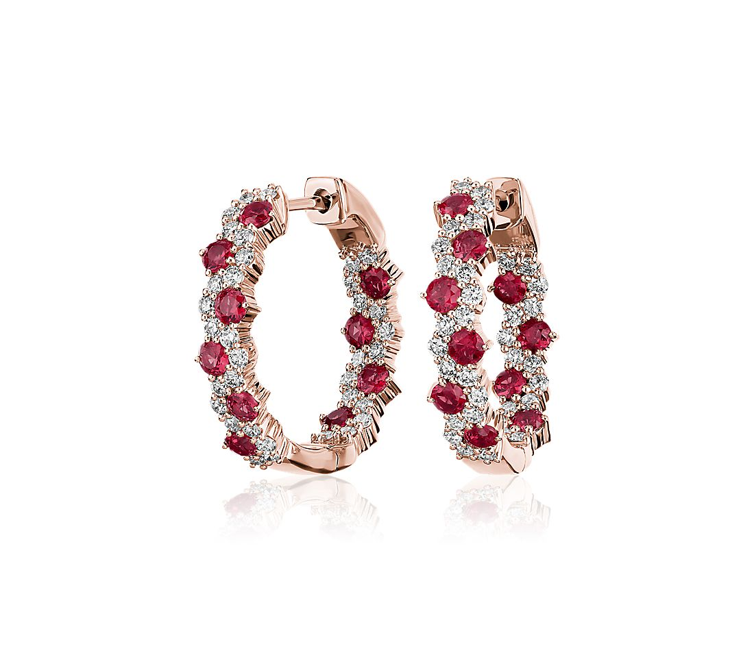 Staggered Ruby and Diamond Hoop Earrings in 14K Rose Gold