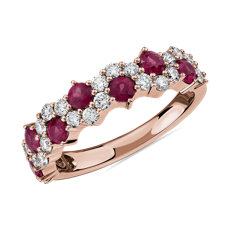 Staggered Ruby and Diamond Ring in 14k Rose Gold
